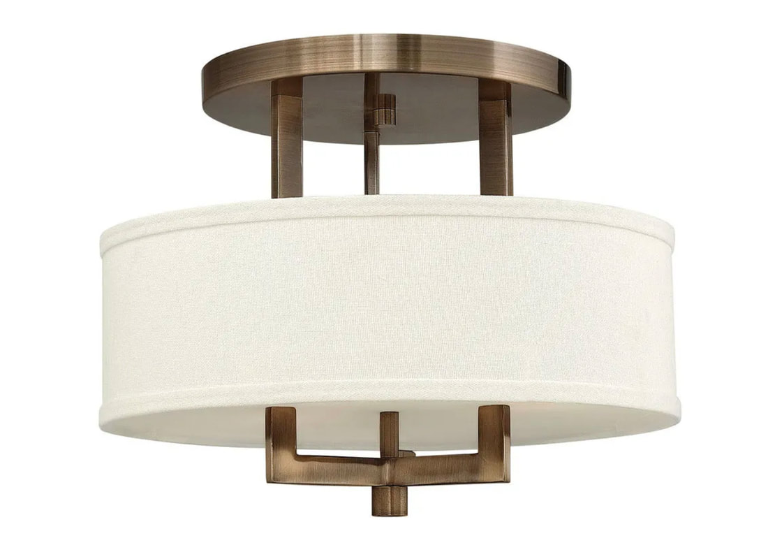 Hampton Collection Brushed Bronze Finish Off White Linen Hardback Shade 3 60w Lamps I W 381mm H 298mm In Stock Nz
